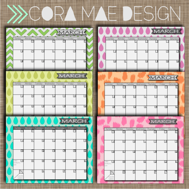 free march 2013 printable calendars