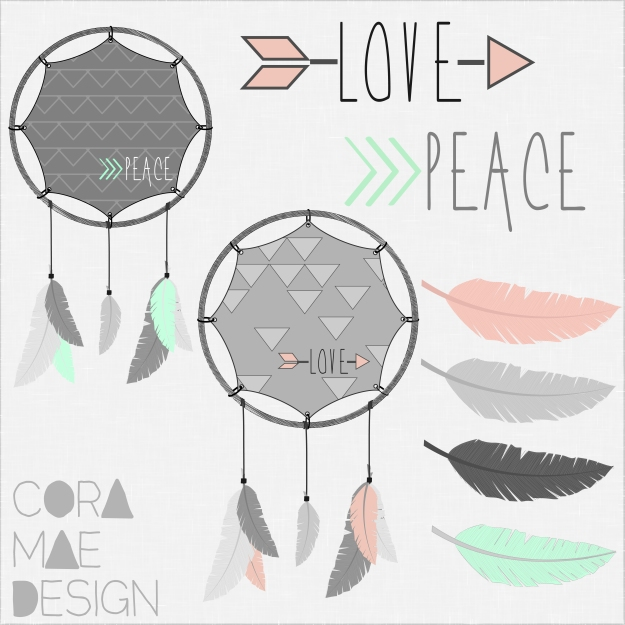 free feathers & dream catchers clip art | CoraMaeDesign